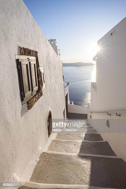Stairs to the sea, in the town of Oia, Santorini