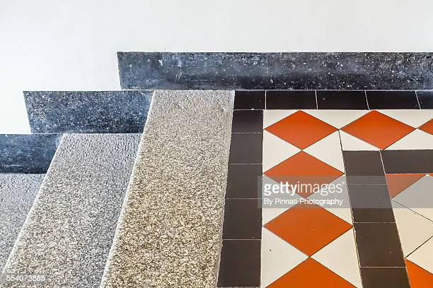 Stairs with classic tile motif