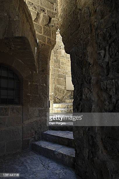Stairway in a narrow alley in the old city of Jaffa, Israel