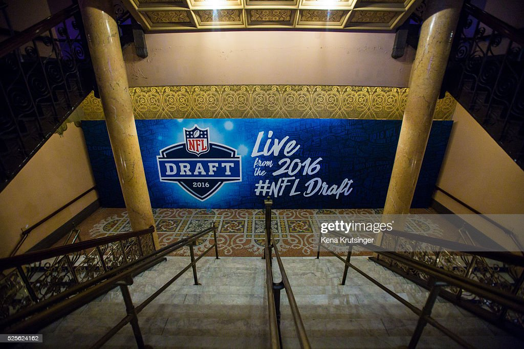 A stairway inside of Roosevelt Auditorium Theatre prior to the start of the 2016 NFL Draft on April 28, 2016 in Chicago, Illinois.