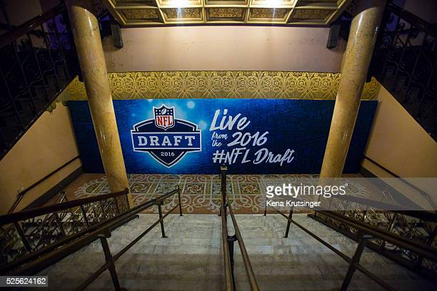 A stairway inside of Roosevelt Auditorium Theatre prior to the start of the 2016 NFL Draft on April 28 2016 in Chicago Illinois