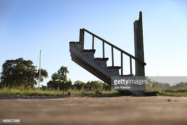 A stairway is seen still standing 10 years after Hurricane Katrina destroyed the house on August 28 2015 in Waveland Mississippi The tenth...