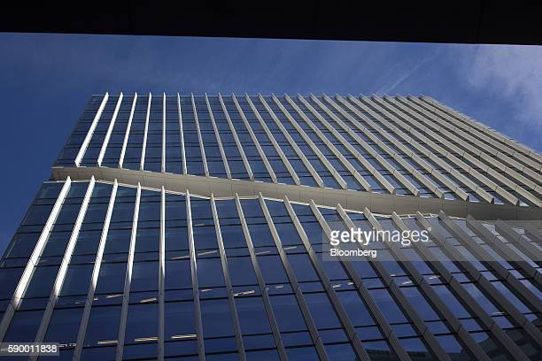 A stairway leads across the facade of the Vinoly tower designed by Rafael Vinoly Architects in the Zuidas business district of Amsterdam Netherlands...