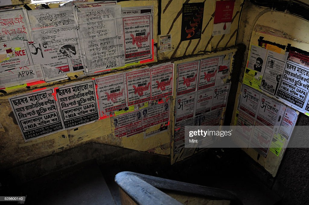 Stairway of Indian coffee house full with political poster mostly demanding for justice of jailed leaders on May 28, 2015 in Kolkata, India.