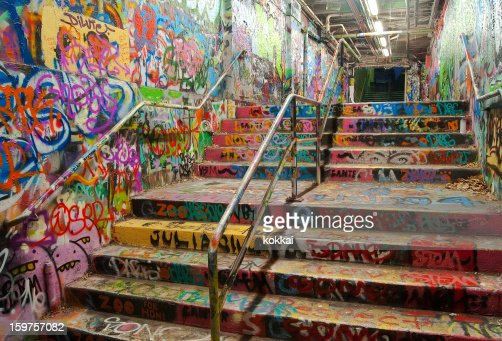 Stairway tunnel filled with Graffiti in University of Sydney