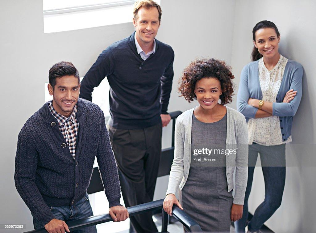 Stairwell meeting : Stock Photo