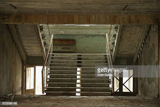 A stairwell stands in abandoned elementary school number five on April 9 2016 in Pripyat Ukraine Pripyat built in the 1970s as a model Soviet city to...