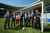Stakeholders pose during an ALeague sponsorship announcement with ME Bank and the ME Bank Green Card for Fairer Play Award at Allianz Stadium on...