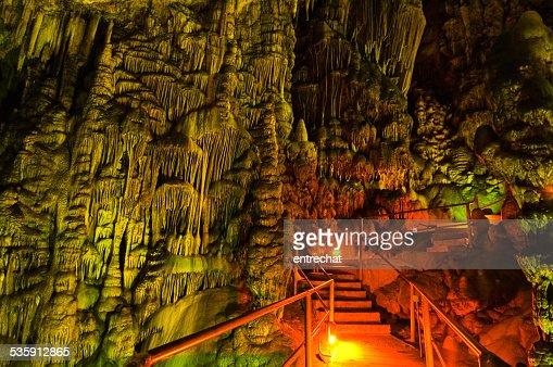 Stalagmites in the Cave of Zeus on Crete island. Greece. : Stock Photo