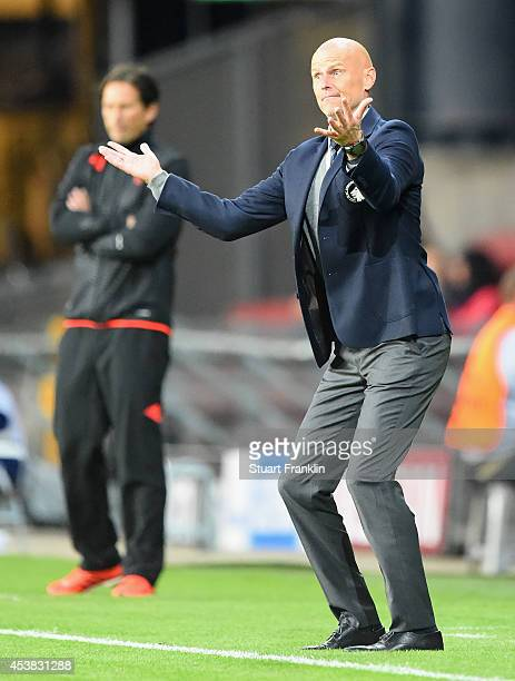 Stale Solbakken head coach of Copenhagen gestures during the first leg of the UEFA Champions league qualifying playoff match between FC Copenhagen...