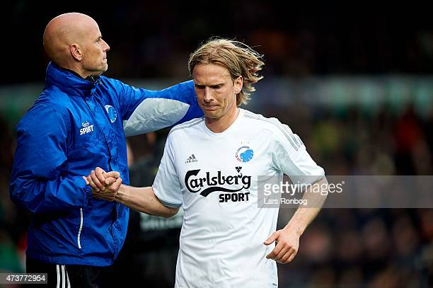 Stale Solbakken head coach of FC Copenhagen and Christian Poulsen of FC Copenhagen during the Danish Alka Superliga match between FC Midtjylland and...