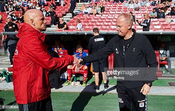 Stale Solbakken head coach of FC Copenhagen and Glen Riddersholm head coach of AGF Aarhus shake hands prior to the Danish Alka Superliga match...
