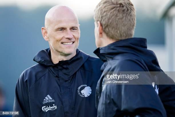 Stale Solbakken head coach of FC Copenhagen and Johan Lange 1 assistant coach of FC Copenhagen during the Danish Alka Superliga match between FC...