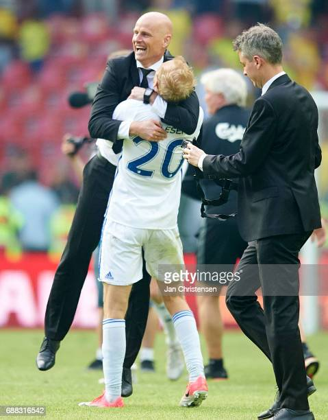 Stale Solbakken head coach of FC Copenhagen and Nicolai Boilesen of FC Copenhagen celebrate after the Danish Cup Final DBU Pokalen match between FC...