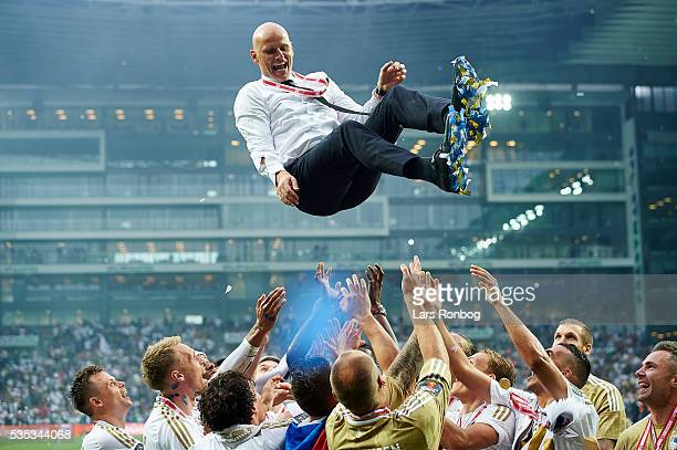 Stale Solbakken head coach of FC Copenhagen celebrate with his players as Danish Champions 2015/2016 after the Danish Alka Superliga match between FC...
