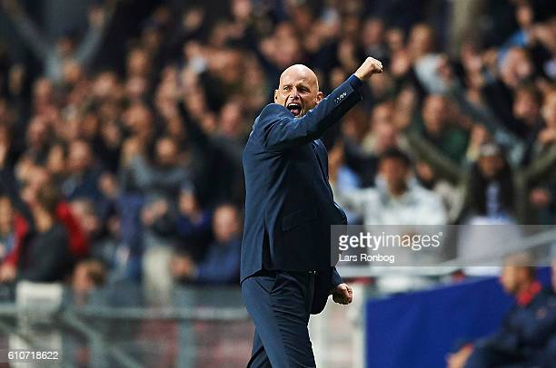 Stale Solbakken head coach of FC Copenhagen celebrates after scoring their fourth goal during the UEFA Champions League match between FC Copenhagen...