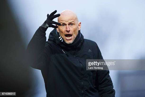 Stale Solbakken head coach of FC Copenhagen gestures during the Danish cup DBU Pokalen semfinal match between Vendsyssel FF and FC Copenhagen at...