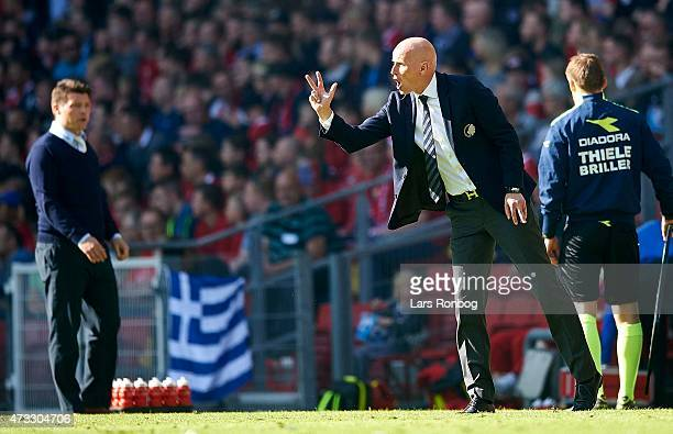 Stale Solbakken head coach of FC Copenhagen gives instructions from the touchline during the DBU Pokalen Cup Final match between FC Vestsjalland and...