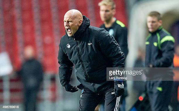 Stale Solbakken head coach of FC Copenhagen gives instructions from the touchline during the Danish Alka Superliga match between FC Copenhagen and...