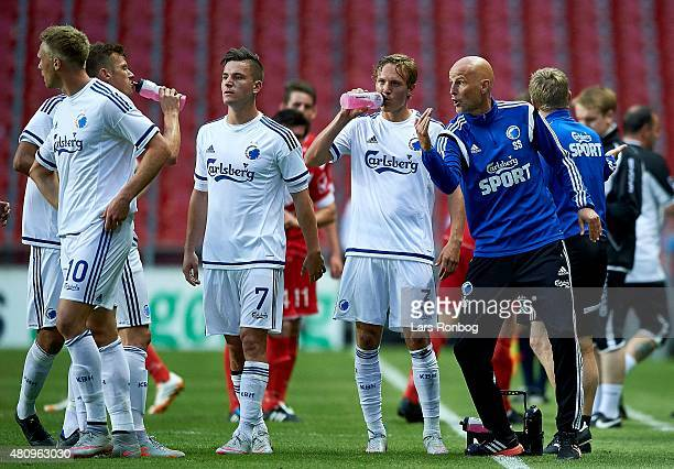 Stale Solbakken head coach of FC Copenhagen gives instructions to his players during the UEFA Europa League Qualification 2nd round 1st Leg match...