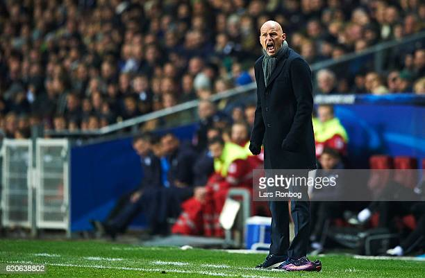 Stale Solbakken head coach of FC Copenhagen in action during the UEFA Champions League match between FC Copenhagen and Leicester City FC at Telia...