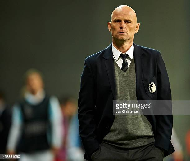 Stale Solbakken head coach of FC Copenhagen looks dejected after the UEFA Champions League Qualifying PlayOffs Round First Leg between FC Copenhagen...
