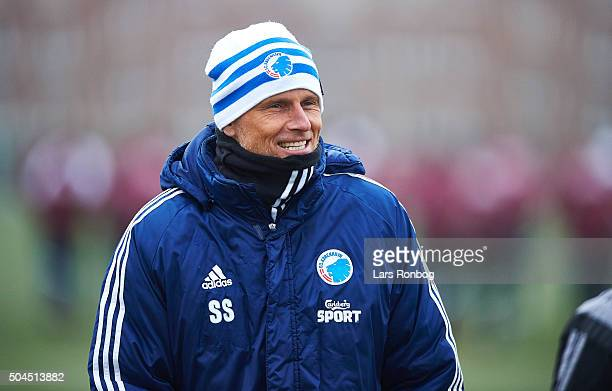 Stale Solbakken head coach of FC Copenhagen looks on during the FC Copenhagen first training session at KB's baner on January 11 2016 in...