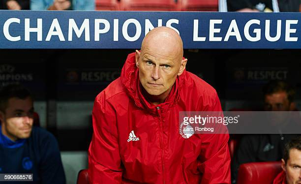 Stale Solbakken head coach of FC Copenhagen looks on during the UEFA Champions League playoff 1st leg match between FC Copenhagen and Apoel FC at...