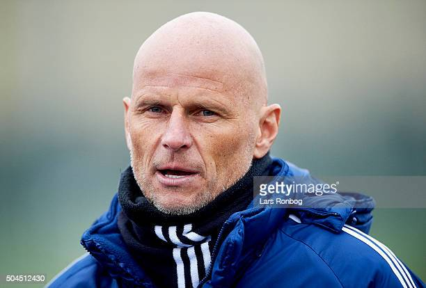 Stale Solbakken head coach of FC Copenhagen speaks to the media after the FC Copenhagen first training session at KB's baner on January 11 2016 in...
