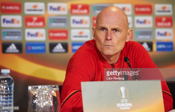 Stale Solbakken head coach of FC Copenhagen speaks to the media during the FC Copenhagen press conference prior to the UEFA Europa League match at...