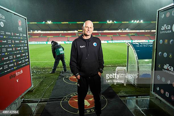Stale Solbakken head coach of FC Copenhagen stands near the pitch prior to the postponed Danish Alka Superliga match between FC Midtjylland and FC...
