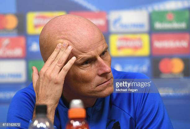 Stale Solbakken Manager of FC Copenhagen speaks during a FC Copenhagen training session and press conference at The King Power Stadium on October 17...