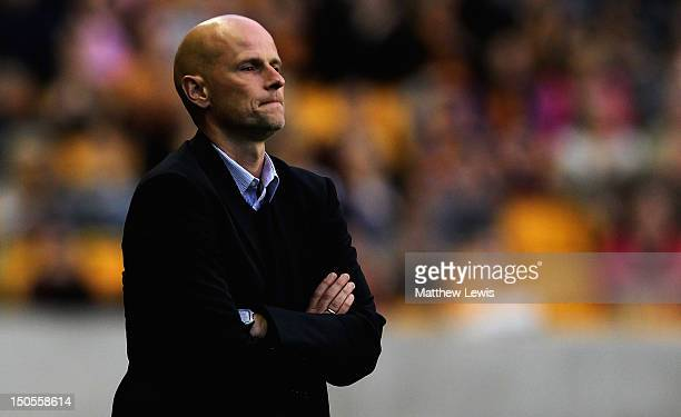 Stale Solbakken manager of Wolverhampton Wanderers looks on during the npower Championship match between Wolverhampton Wanderers and Barnsley at...