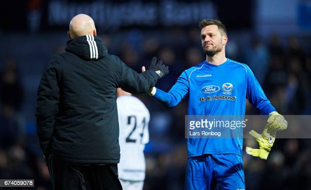 Stale Solbakken shake hands with Goalkeeper Jesper Christiansen of Vendsyssel FF after the Danish cup DBU Pokalen semfinal match between Vendsyssel...