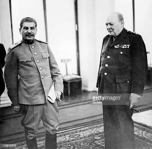 Stalin and churchill in the conference room of the livadia palace during the yalta conference crimea feb 1945