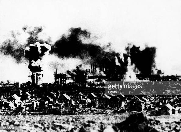 Stalingrad on fire November 17 USSR Second World War war National archives Washington