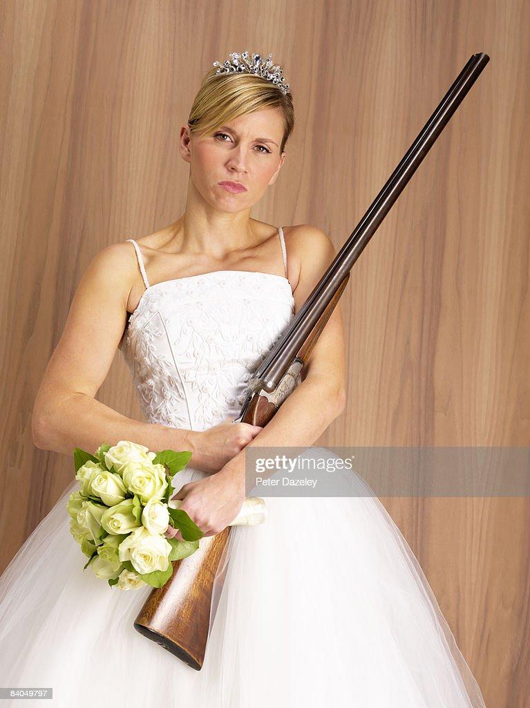 stalker bride with shot gun : Stock Photo