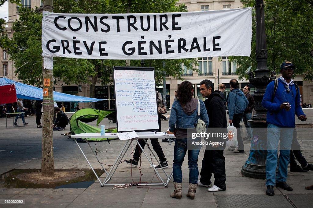 Stall about build the General strike on the Place de la Republique during the Global Debout meeting as the 'Nuit Debout' in Paris, France on May 28, 2016.