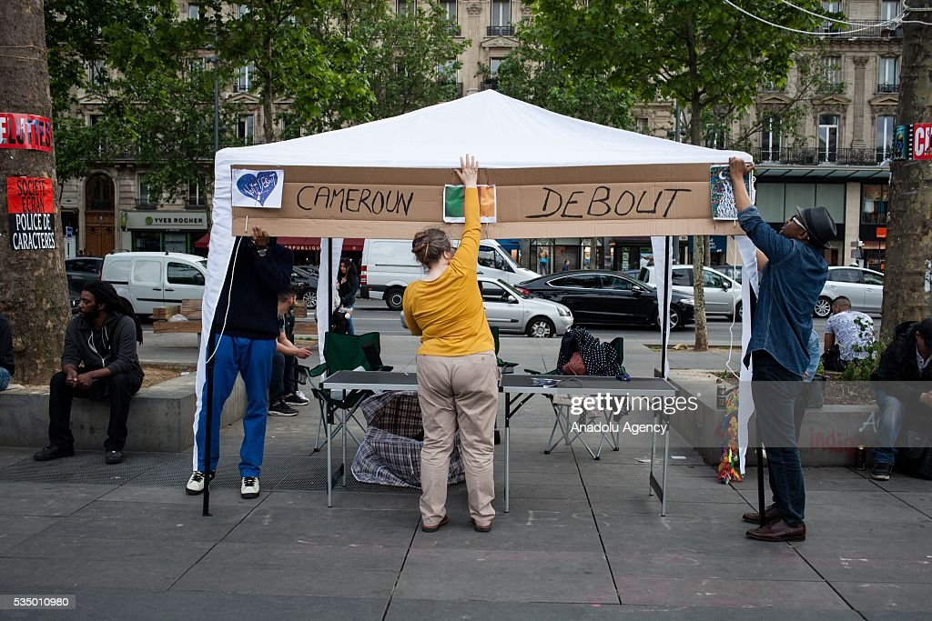 Stall fo the Cameroon awake at 'Nuit Debout' global meeting Place de la Republique in Paris, France on May 28, 2016.