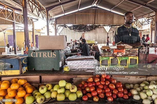 Stall holder on community market stall, Windhoek, Namibia, Namibia