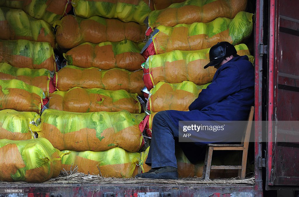 A stall holder takes a nap as he waits for customers in a market in Hefei, central China's Anhui province on January 11, 2013. China's inflation rate slowed sharply in 2012, official data showed on January 11, but analysts warned of increasing price risks this year that may limit scope for measures to boost economic growth. CHINA OUT AFP PHOTO