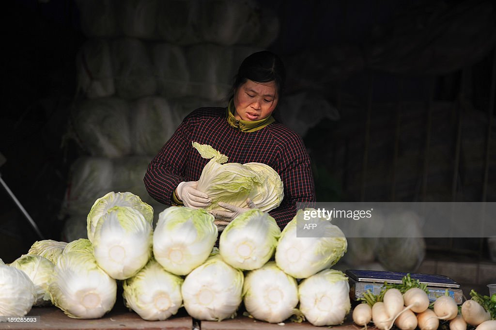 A stall holder waits for costumers in a market in Hefei, central China's Anhui province on January 11, 2013. China's inflation rate slowed sharply in 2012, official data showed on January 11, but analysts warned of increasing price risks this year that may limit scope for measures to boost economic growth. CHINA