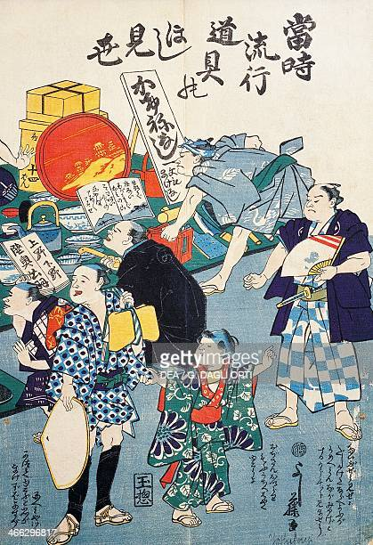 Stall selling boxes fans books and kakemonos 19th century ukiyoe art print painted on a scroll from the Kabuki theatre series woodcut Japanese...