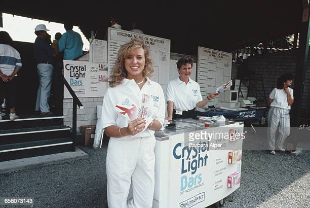 A stall selling Crystal Light bars at a Virginia Slims of Newport tennis match in Newport Rhode Island July 1986