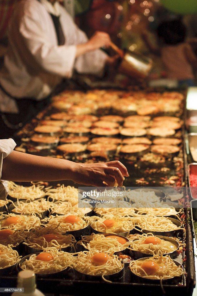 Stall selling okonomiyaki