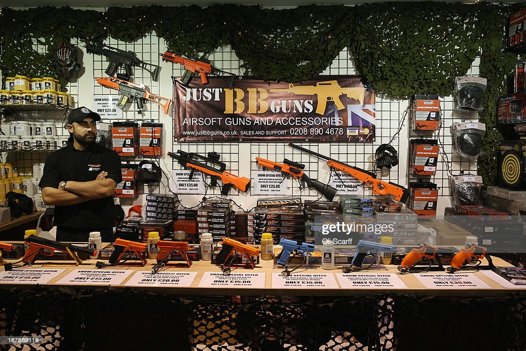 A stall sells BB guns at the 'Ideal Home Show at Christmas' on November 13, 2013 in London, England. Over 80,000 visitors are expected to attend the 5 day event which showcases a range of gift ideas for Christmas in the Earls Court exhibition centre.