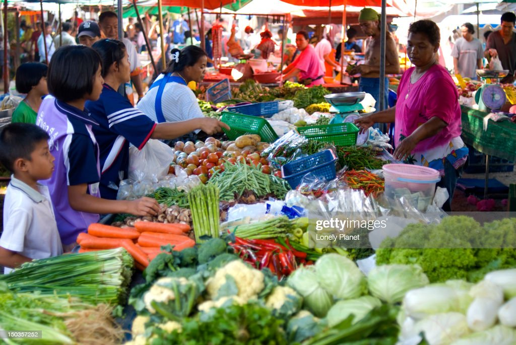 Stalls at evening market near Bang Thao. : Stock Photo