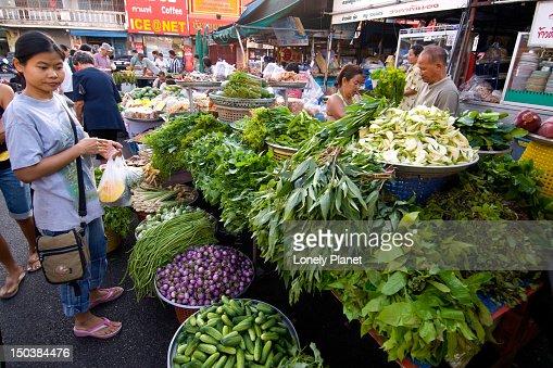 Stalls at morning market. : Stock Photo