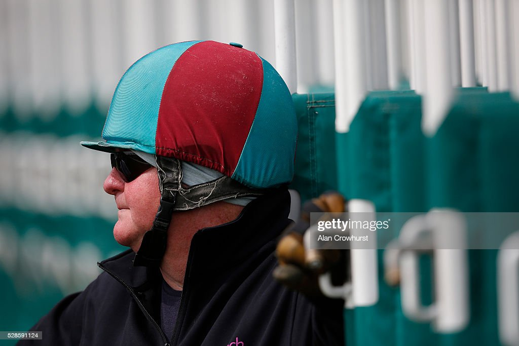 A stalls handler waits for the runners to arrive at Chester racecourse on May 6, 2016 in Chester, England.