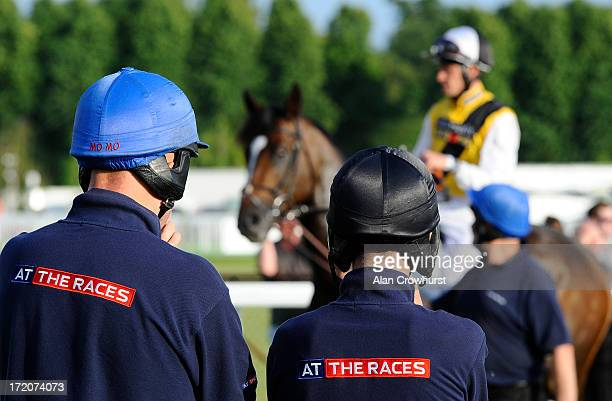 Stalls handlers at Windsor racecourse on July 01 2013 in Windsor England